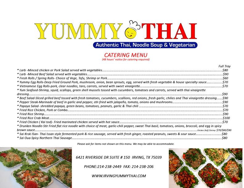 Thai Food Catering Menu Yummy Thai